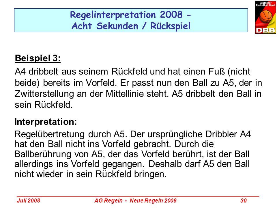 _________________________________________________________________________________ Juli 2008 AG Regeln - Neue Regeln 2008 30 Regelinterpretation 2008 -