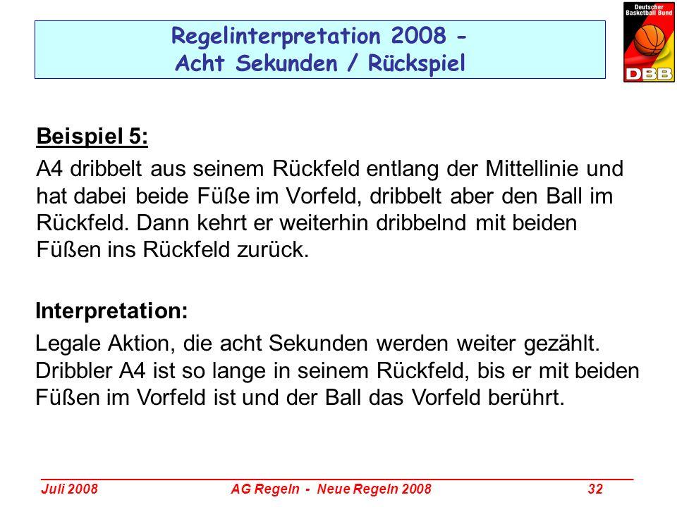 _________________________________________________________________________________ Juli 2008 AG Regeln - Neue Regeln 2008 32 Regelinterpretation 2008 -