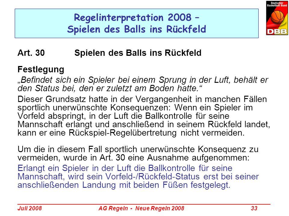 _________________________________________________________________________________ Juli 2008 AG Regeln - Neue Regeln 2008 33 Regelinterpretation 2008 –