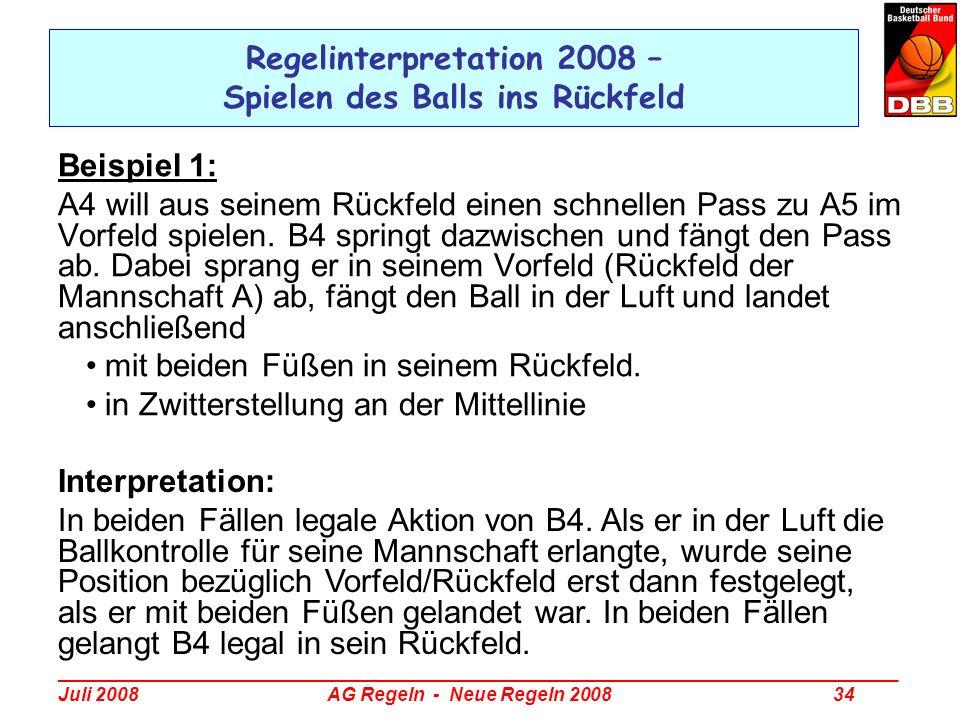 _________________________________________________________________________________ Juli 2008 AG Regeln - Neue Regeln 2008 34 Regelinterpretation 2008 –