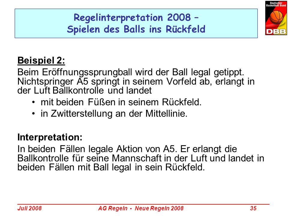 _________________________________________________________________________________ Juli 2008 AG Regeln - Neue Regeln 2008 35 Regelinterpretation 2008 –