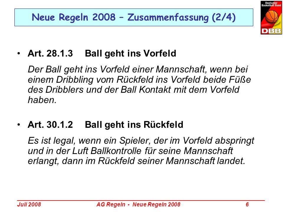 _________________________________________________________________________________ Juli 2008 AG Regeln - Neue Regeln 2008 17 Neue Regeln 2008 – Spielen des Balls ins Rückfeld Art.