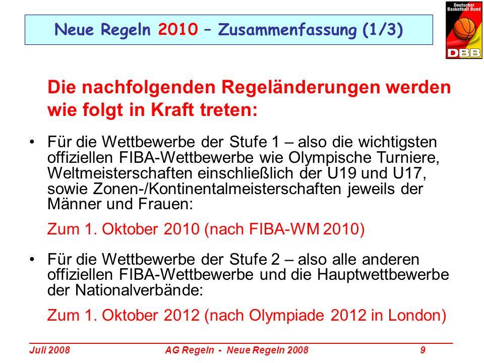 _________________________________________________________________________________ Juli 2008 AG Regeln - Neue Regeln 2008 10 Neue Regeln 2010 – Zusammenfassung (2/3) Art.