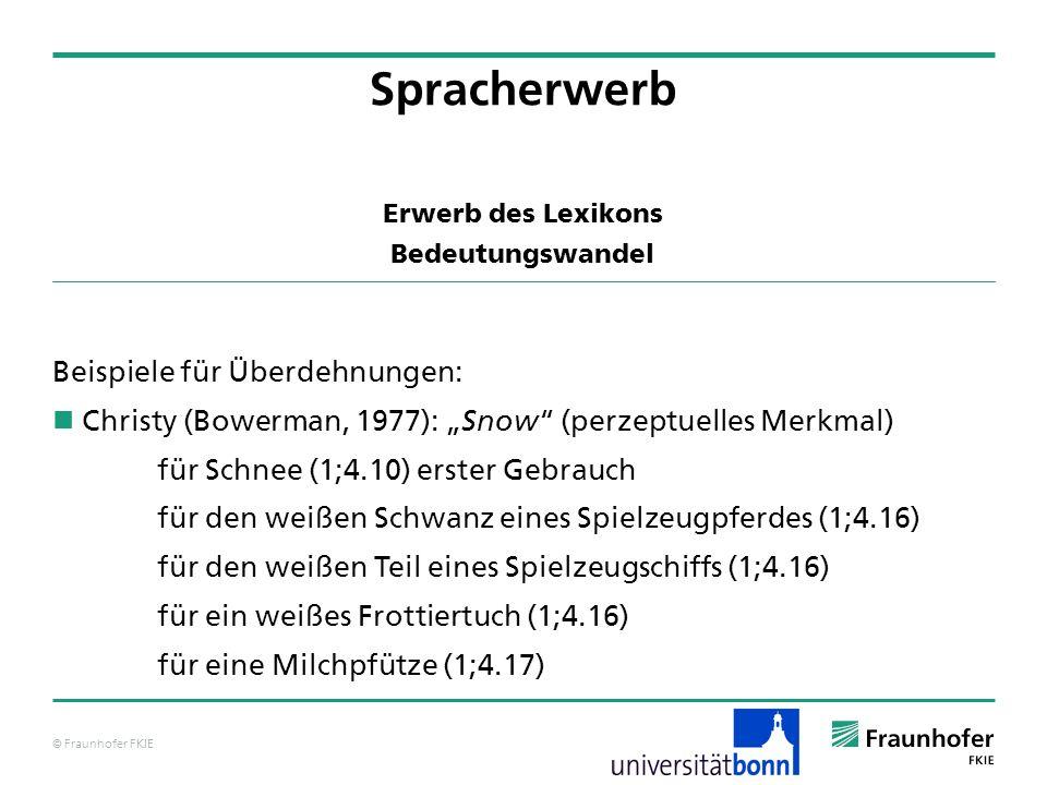 © Fraunhofer FKIE Erwerb des Lexikons Bedeutungswandel Beispiele für Überdehnungen: Christy (Bowerman, 1977): Snow (perzeptuelles Merkmal) für Schnee
