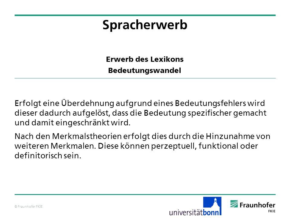 © Fraunhofer FKIE Erwerb des Lexikons Bedeutungswandel Erfolgt eine Überdehnung aufgrund eines Bedeutungsfehlers wird dieser dadurch aufgelöst, dass d