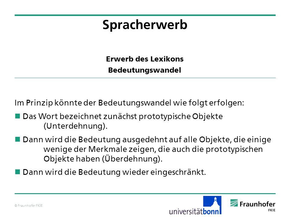 © Fraunhofer FKIE Erwerb des Lexikons Bedeutungswandel Im Prinzip könnte der Bedeutungswandel wie folgt erfolgen: Das Wort bezeichnet zunächst prototy