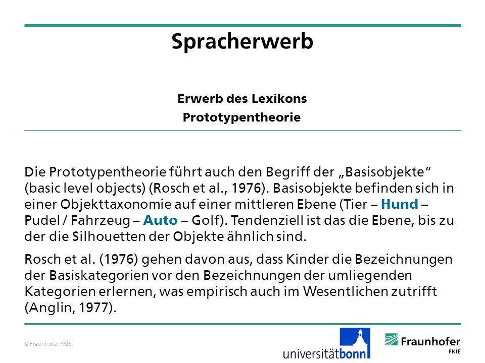 © Fraunhofer FKIE Erwerb des Lexikons Prototypentheorie Die Prototypentheorie führt auch den Begriff der Basisobjekte (basic level objects) (Rosch et