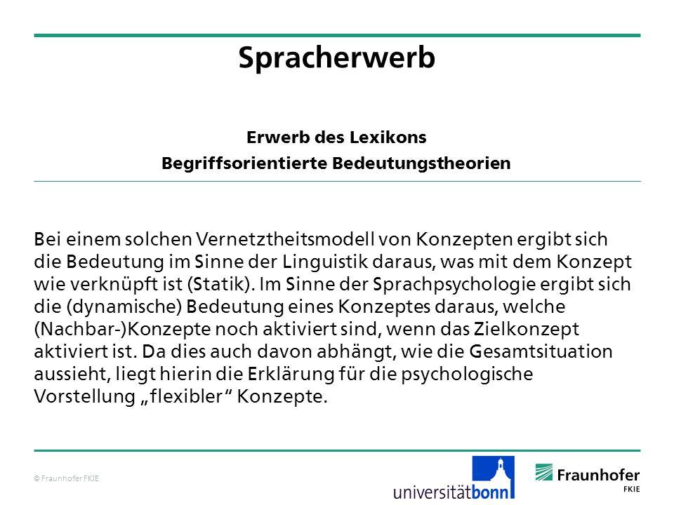 © Fraunhofer FKIE Erwerb des Lexikons Begriffsorientierte Bedeutungstheorien Bei einem solchen Vernetztheitsmodell von Konzepten ergibt sich die Bedeu