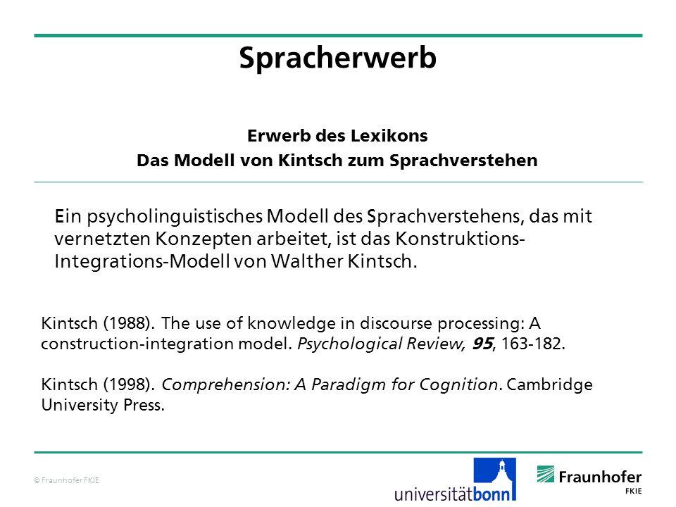 © Fraunhofer FKIE Ein psycholinguistisches Modell des Sprachverstehens, das mit vernetzten Konzepten arbeitet, ist das Konstruktions- Integrations-Mod