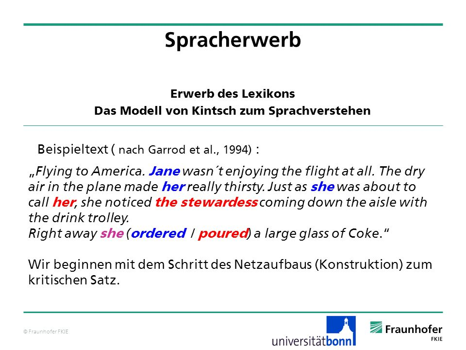 © Fraunhofer FKIE Beispieltext ( nach Garrod et al., 1994) : Flying to America.