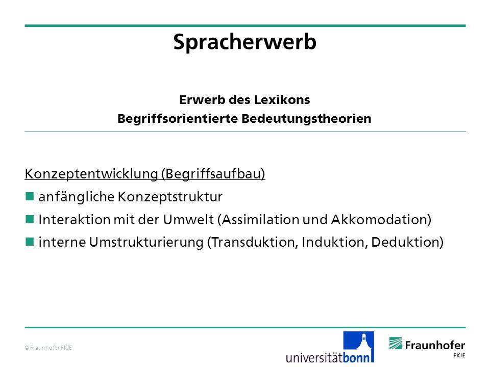 © Fraunhofer FKIE Erwerb des Lexikons Begriffsorientierte Bedeutungstheorien Konzeptentwicklung (Begriffsaufbau) anfängliche Konzeptstruktur Interakti