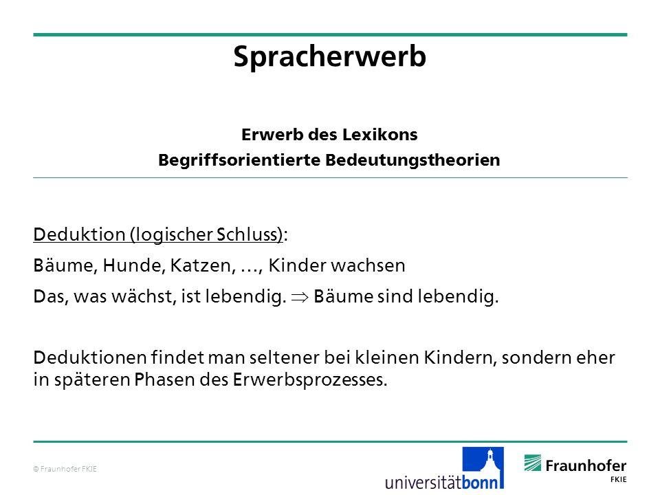 © Fraunhofer FKIE Erwerb des Lexikons Begriffsorientierte Bedeutungstheorien Deduktion (logischer Schluss): Bäume, Hunde, Katzen, …, Kinder wachsen Da