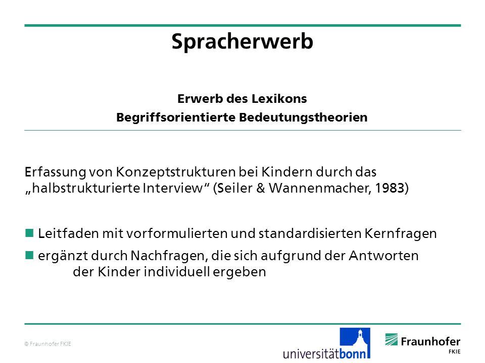 © Fraunhofer FKIE Erwerb des Lexikons Begriffsorientierte Bedeutungstheorien Erfassung von Konzeptstrukturen bei Kindern durch das halbstrukturierte I