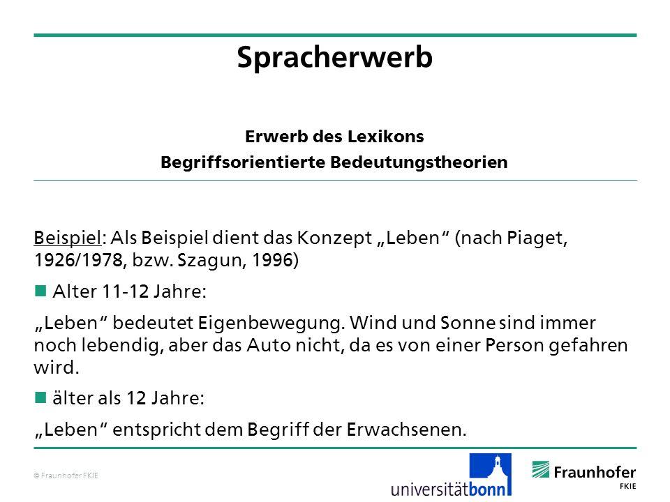 © Fraunhofer FKIE Erwerb des Lexikons Begriffsorientierte Bedeutungstheorien Beispiel: Als Beispiel dient das Konzept Leben (nach Piaget, 1926/1978, b