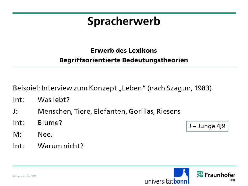 © Fraunhofer FKIE Beispiel: Interview zum Konzept Leben (nach Szagun, 1983) Int:Was lebt? J:Menschen, Tiere, Elefanten, Gorillas, Riesens Int:Blume? M