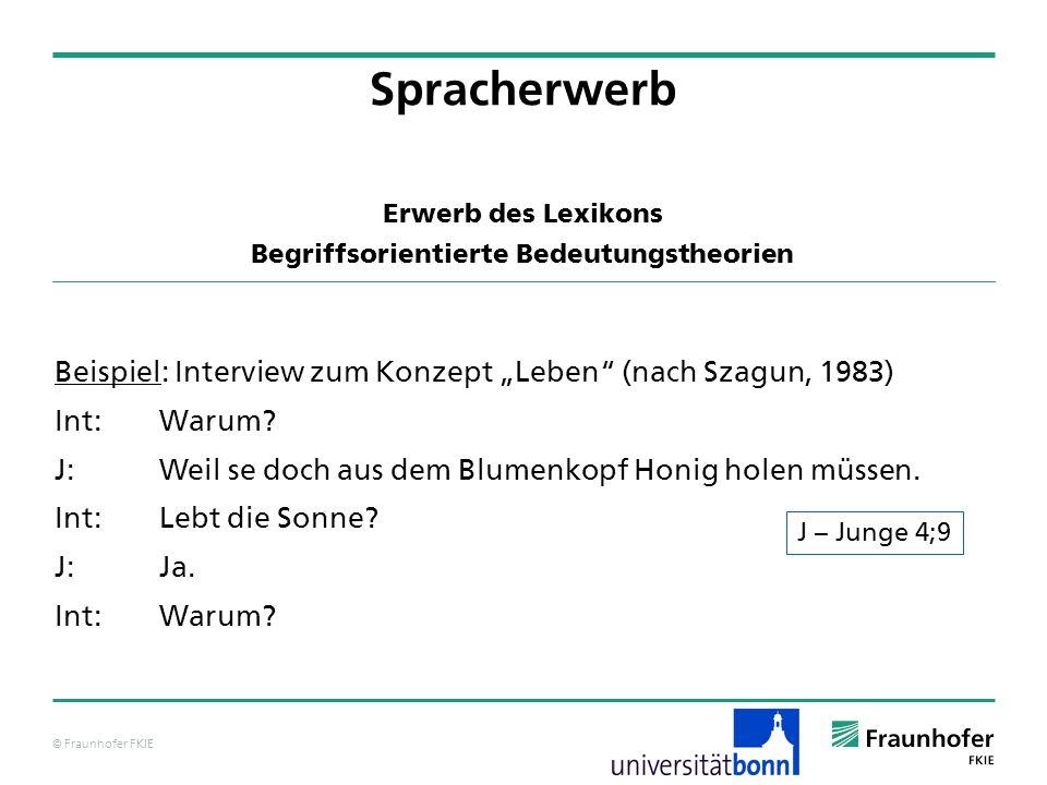 © Fraunhofer FKIE Beispiel: Interview zum Konzept Leben (nach Szagun, 1983) Int:Warum? J:Weil se doch aus dem Blumenkopf Honig holen müssen. Int:Lebt