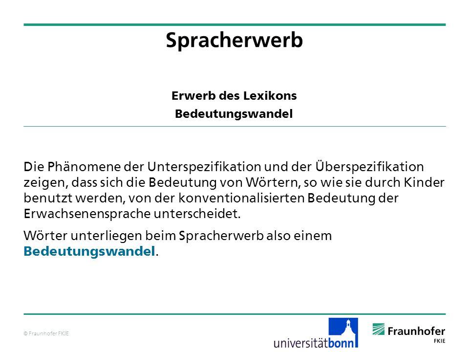 © Fraunhofer FKIE Erwerb des Lexikons Bedeutungswandel Die Phänomene der Unterspezifikation und der Überspezifikation zeigen, dass sich die Bedeutung