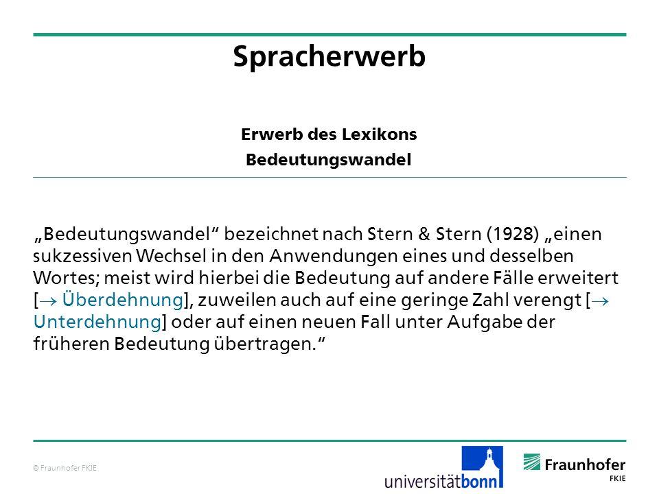 © Fraunhofer FKIE Erwerb des Lexikons Bedeutungswandel Bedeutungswandel bezeichnet nach Stern & Stern (1928) einen sukzessiven Wechsel in den Anwendun