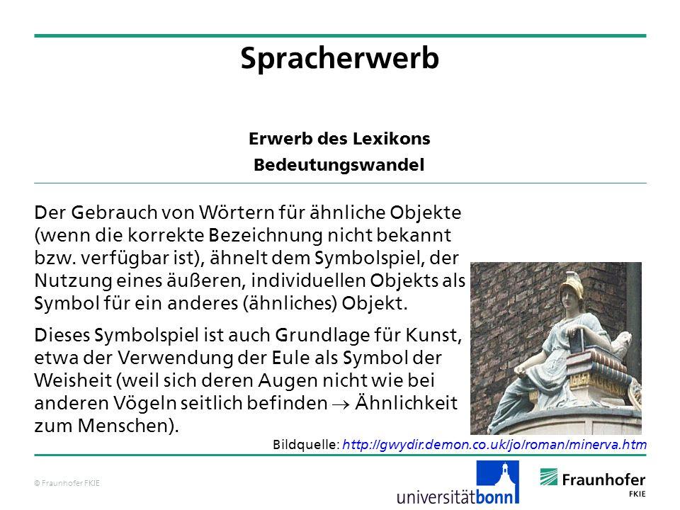 © Fraunhofer FKIE Erwerb des Lexikons Bedeutungswandel Beispiele für Überdehnungen: Christy (Bowerman, 1977): Snow (perzeptuelles Merkmal) für Schnee (1;4.10) erster Gebrauch für den weißen Schwanz eines Spielzeugpferdes (1;4.16) für den weißen Teil eines Spielzeugschiffs (1;4.16) für ein weißes Frottiertuch (1;4.16) für eine Milchpfütze (1;4.17) Spracherwerb