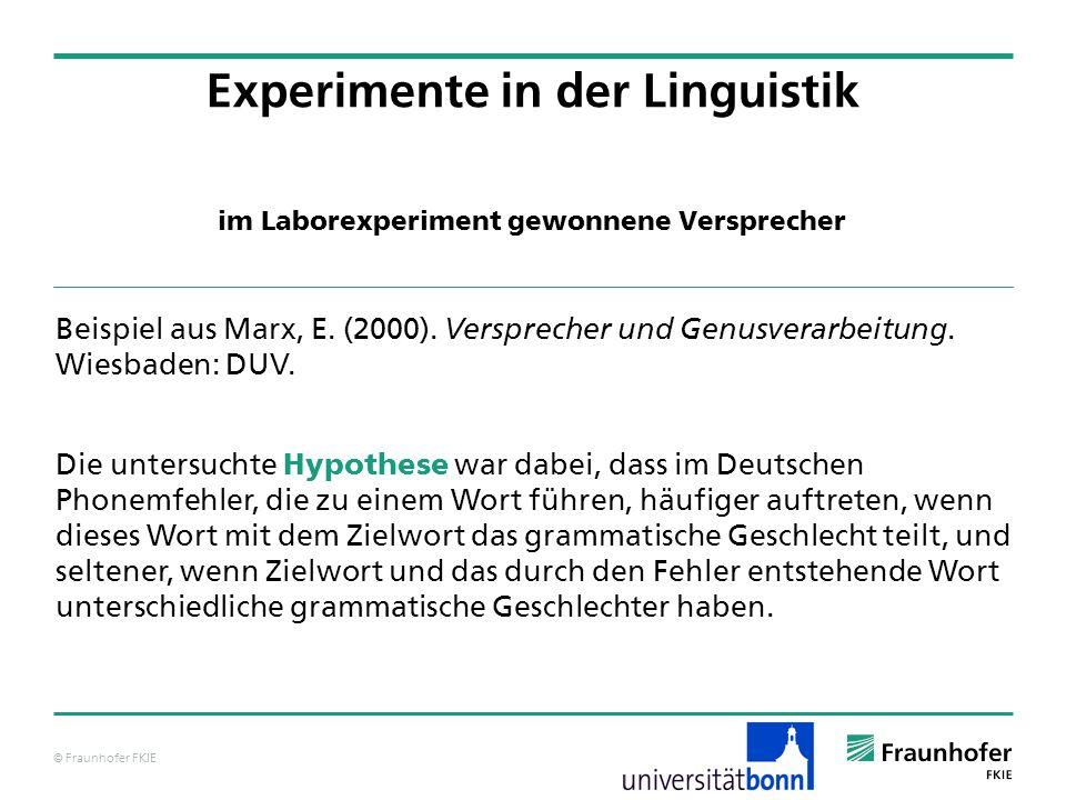 © Fraunhofer FKIE im Laborexperiment gewonnene Versprecher Experimente in der Linguistik Beispiel aus Marx, E.