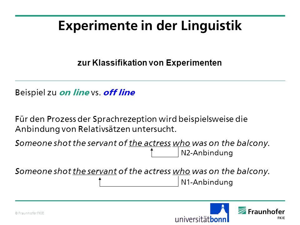 © Fraunhofer FKIE zur Klassifikation von Experimenten Beispiel zu on line vs. off line Für den Prozess der Sprachrezeption wird beispielsweise die Anb
