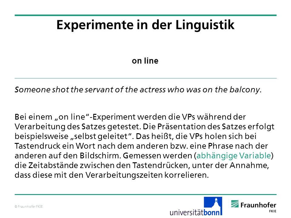 © Fraunhofer FKIE on line Someone shot the servant of the actress who was on the balcony. Bei einem on line-Experiment werden die VPs während der Vera