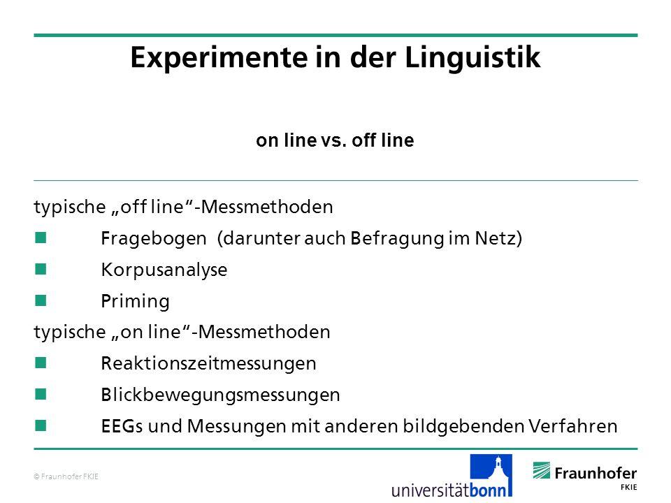 © Fraunhofer FKIE on line vs. off line typische off line-Messmethoden Fragebogen (darunter auch Befragung im Netz) Korpusanalyse Priming typische on l