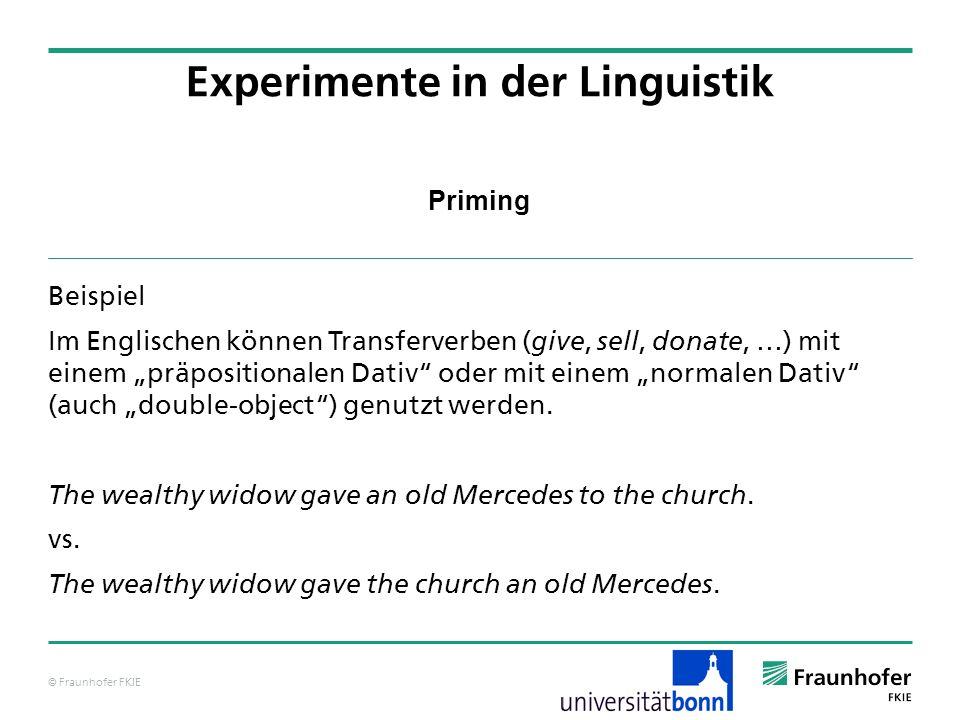 © Fraunhofer FKIE Priming Beispiel Im Englischen können Transferverben ( give, sell, donate, …) mit einem präpositionalen Dativ oder mit einem normalen Dativ (auch double-object) genutzt werden.