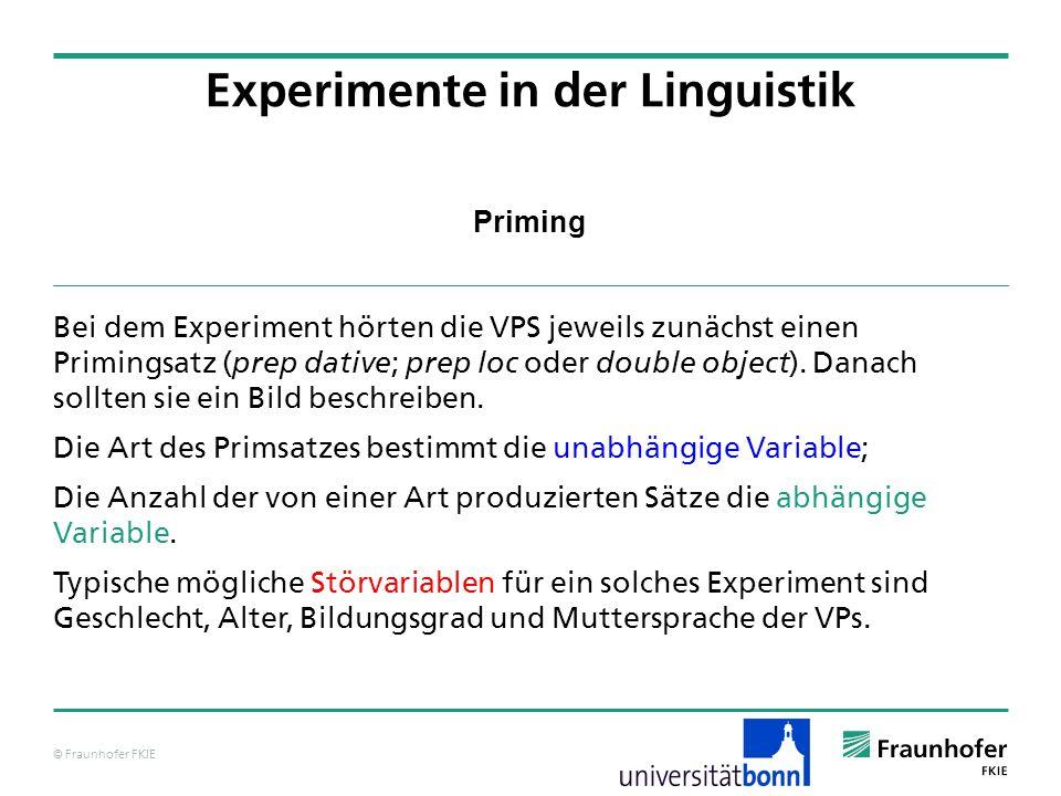 © Fraunhofer FKIE Priming Bei dem Experiment hörten die VPS jeweils zunächst einen Primingsatz ( prep dative ; prep loc oder double object ).