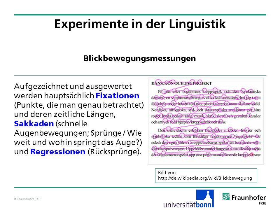 © Fraunhofer FKIE Blickbewegungsmessungen Aufgezeichnet und ausgewertet werden hauptsächlich Fixationen (Punkte, die man genau betrachtet) und deren z