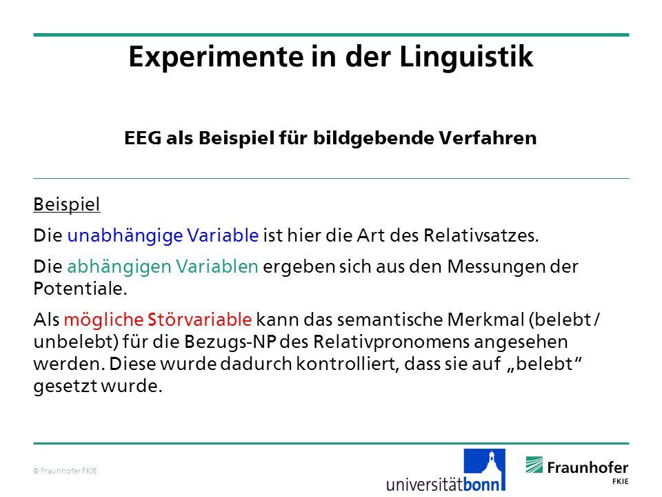 © Fraunhofer FKIE EEG als Beispiel für bildgebende Verfahren Beispiel Die unabhängige Variable ist hier die Art des Relativsatzes. Die abhängigen Vari