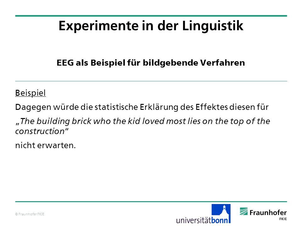 © Fraunhofer FKIE EEG als Beispiel für bildgebende Verfahren Beispiel Dagegen würde die statistische Erklärung des Effektes diesen für The building br