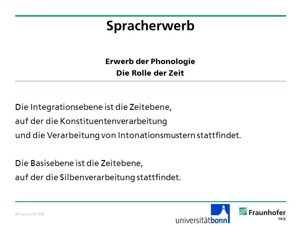 © Fraunhofer FKIE Erwerb der Phonologie Die Rolle der Zeit Die Integrationsebene ist die Zeitebene, auf der die Konstituentenverarbeitung und die Vera