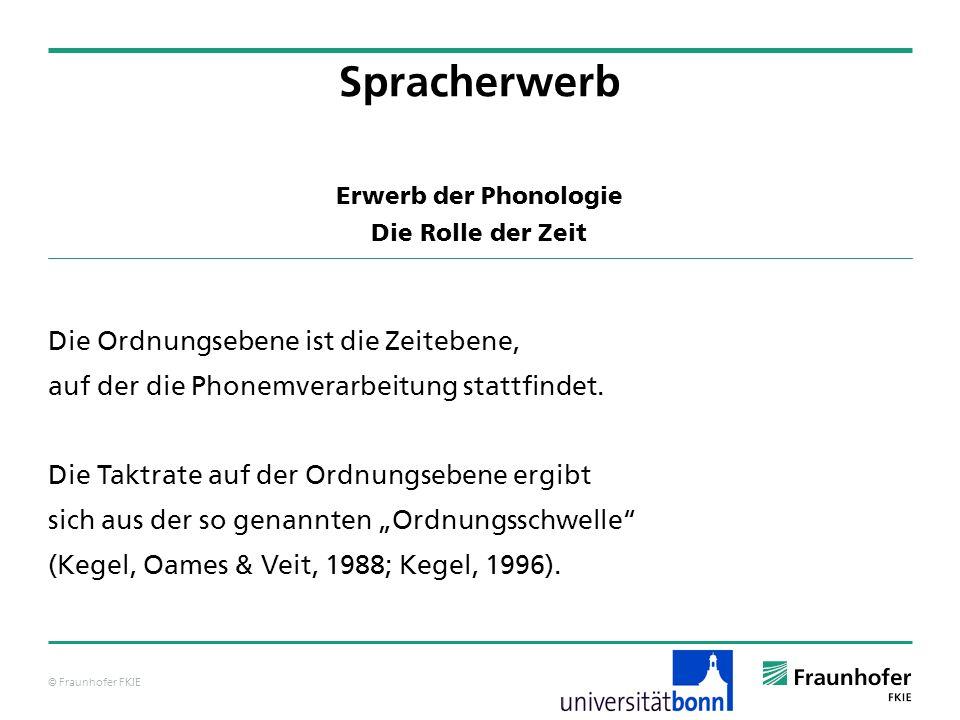 © Fraunhofer FKIE Erwerb der Phonologie Die Rolle der Zeit Die Ordnungsebene ist die Zeitebene, auf der die Phonemverarbeitung stattfindet. Die Taktra