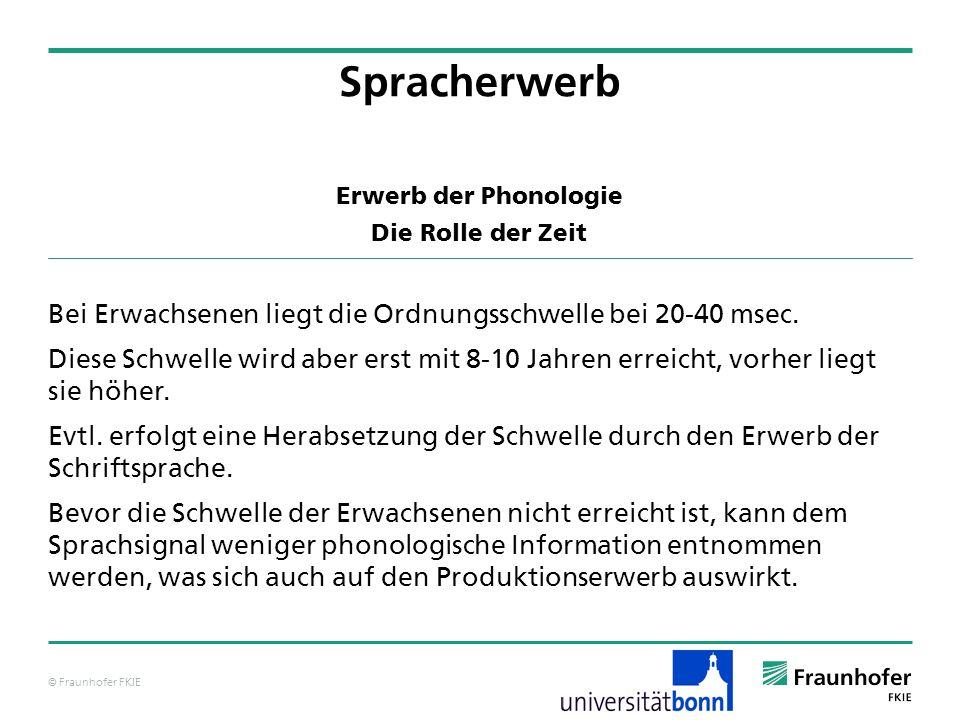 © Fraunhofer FKIE Erwerb der Phonologie Die Rolle der Zeit Bei Erwachsenen liegt die Ordnungsschwelle bei 20-40 msec. Diese Schwelle wird aber erst mi