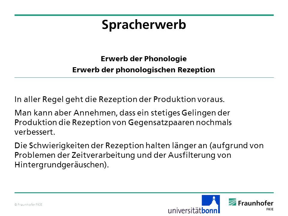 © Fraunhofer FKIE Erwerb der Phonologie Erwerb der phonologischen Rezeption In aller Regel geht die Rezeption der Produktion voraus. Man kann aber Ann