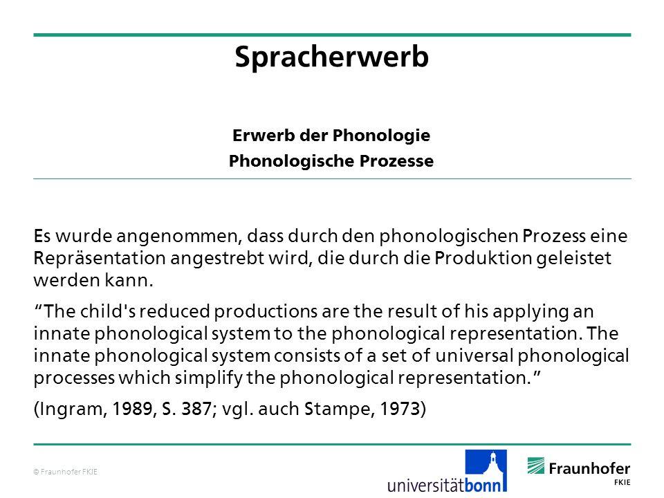 © Fraunhofer FKIE Erwerb der Phonologie Phonologische Prozesse Es wurde angenommen, dass durch den phonologischen Prozess eine Repräsentation angestre