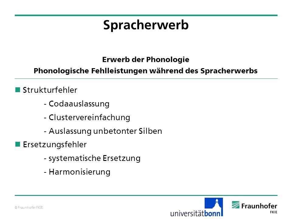 © Fraunhofer FKIE Erwerb der Phonologie Phonologische Fehlleistungen während des Spracherwerbs Strukturfehler - Codaauslassung - Clustervereinfachung