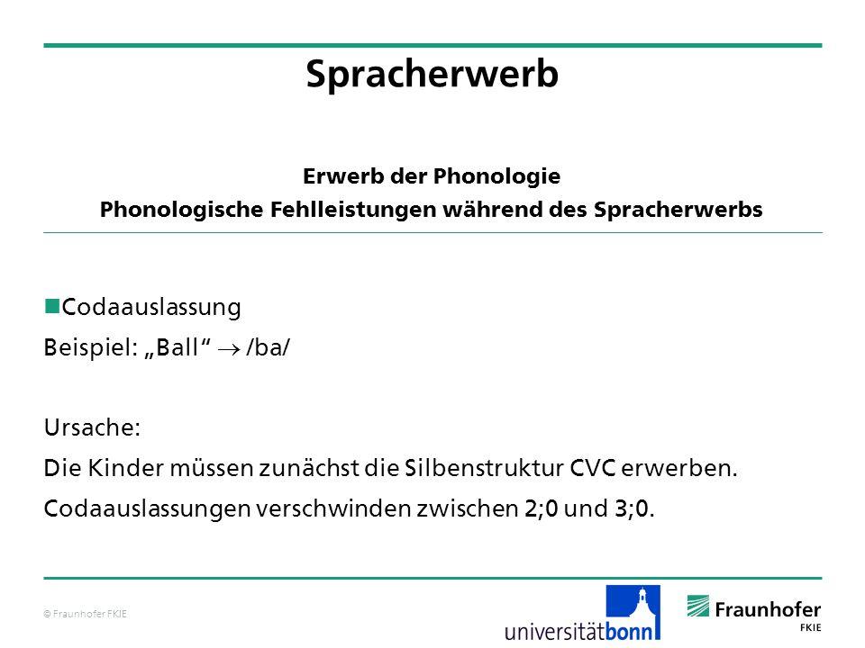 © Fraunhofer FKIE Erwerb der Phonologie Phonologische Fehlleistungen während des Spracherwerbs Codaauslassung Beispiel: Ball /ba/ Ursache: Die Kinder