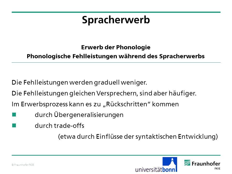 © Fraunhofer FKIE Erwerb der Phonologie Phonologische Fehlleistungen während des Spracherwerbs Die Fehlleistungen werden graduell weniger. Die Fehllei