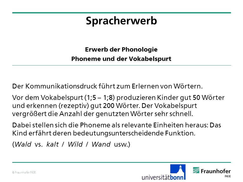 © Fraunhofer FKIE Erwerb der Phonologie Phoneme und der Vokabelspurt Der Kommunikationsdruck führt zum Erlernen von Wörtern. Vor dem Vokabelspurt (1;5