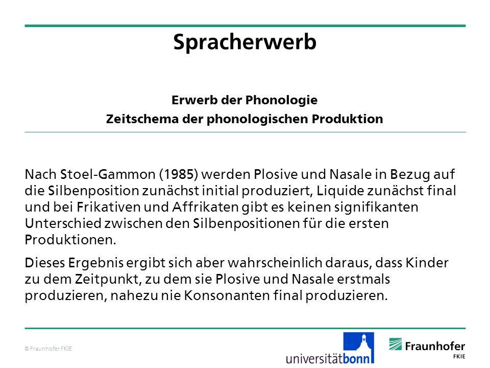 © Fraunhofer FKIE Erwerb der Phonologie Zeitschema der phonologischen Produktion Nach Stoel-Gammon (1985) werden Plosive und Nasale in Bezug auf die S