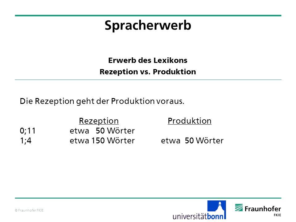 © Fraunhofer FKIE Erwerb des Lexikons Rezeption vs. Produktion Spracherwerb Die Rezeption geht der Produktion voraus. RezeptionProduktion 0;11 etwa 50