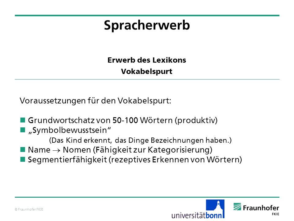 © Fraunhofer FKIE Erwerb des Lexikons Vokabelspurt Spracherwerb Voraussetzungen für den Vokabelspurt: Grundwortschatz von 50-100 Wörtern (produktiv) S