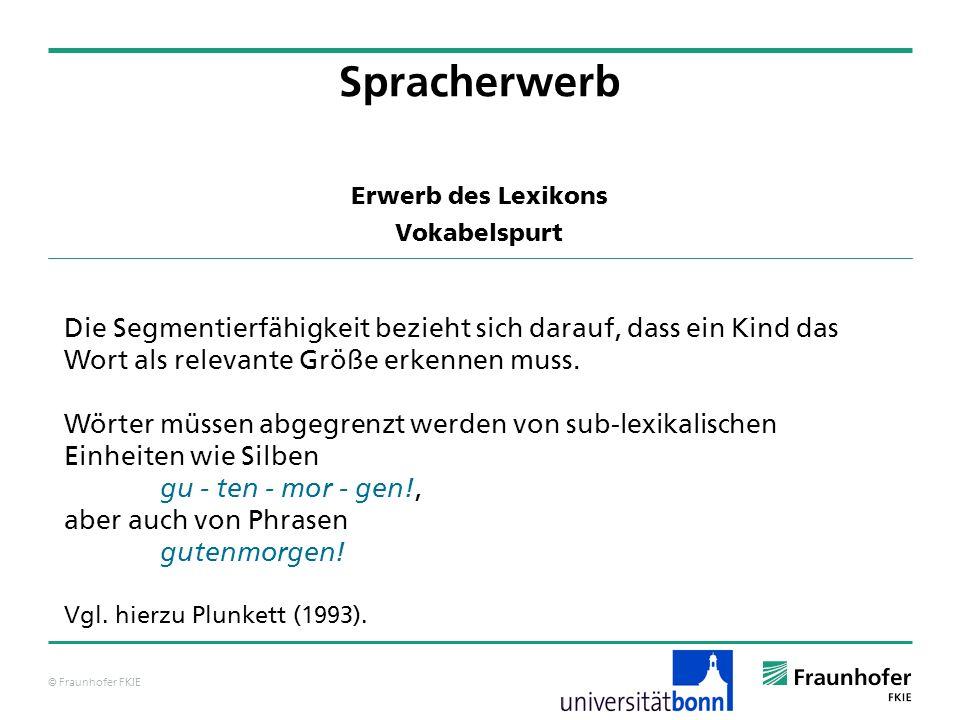 © Fraunhofer FKIE Erwerb des Lexikons Vokabelspurt Spracherwerb Die Segmentierfähigkeit bezieht sich darauf, dass ein Kind das Wort als relevante Größ