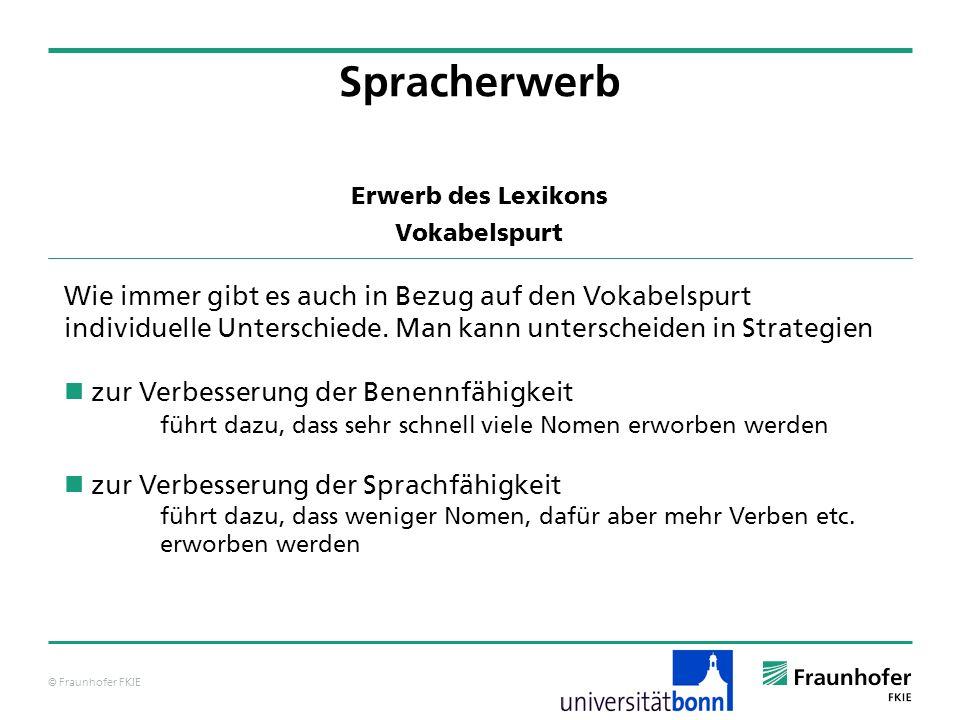 © Fraunhofer FKIE Erwerb des Lexikons Vokabelspurt Spracherwerb Wie immer gibt es auch in Bezug auf den Vokabelspurt individuelle Unterschiede. Man ka