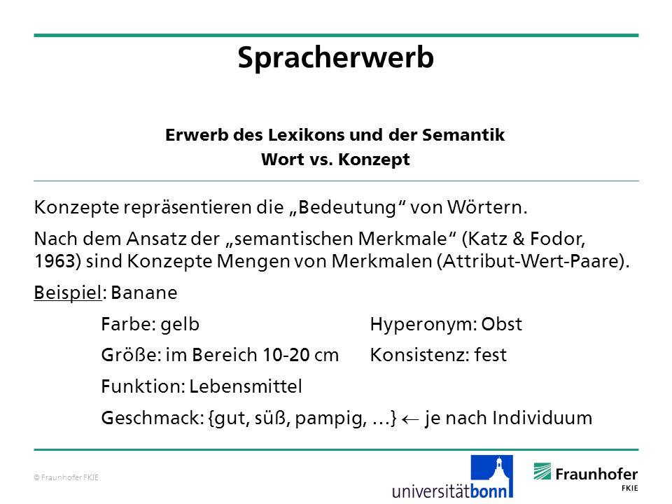 © Fraunhofer FKIE Erwerb des Lexikons und der Semantik Wort vs. Konzept Spracherwerb Konzepte repräsentieren die Bedeutung von Wörtern. Nach dem Ansat