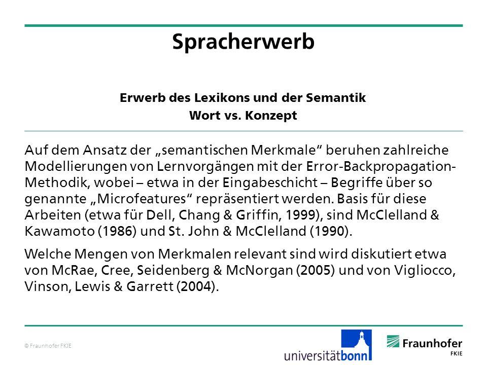 © Fraunhofer FKIE Erwerb des Lexikons und der Semantik Wort vs. Konzept Spracherwerb Auf dem Ansatz der semantischen Merkmale beruhen zahlreiche Model
