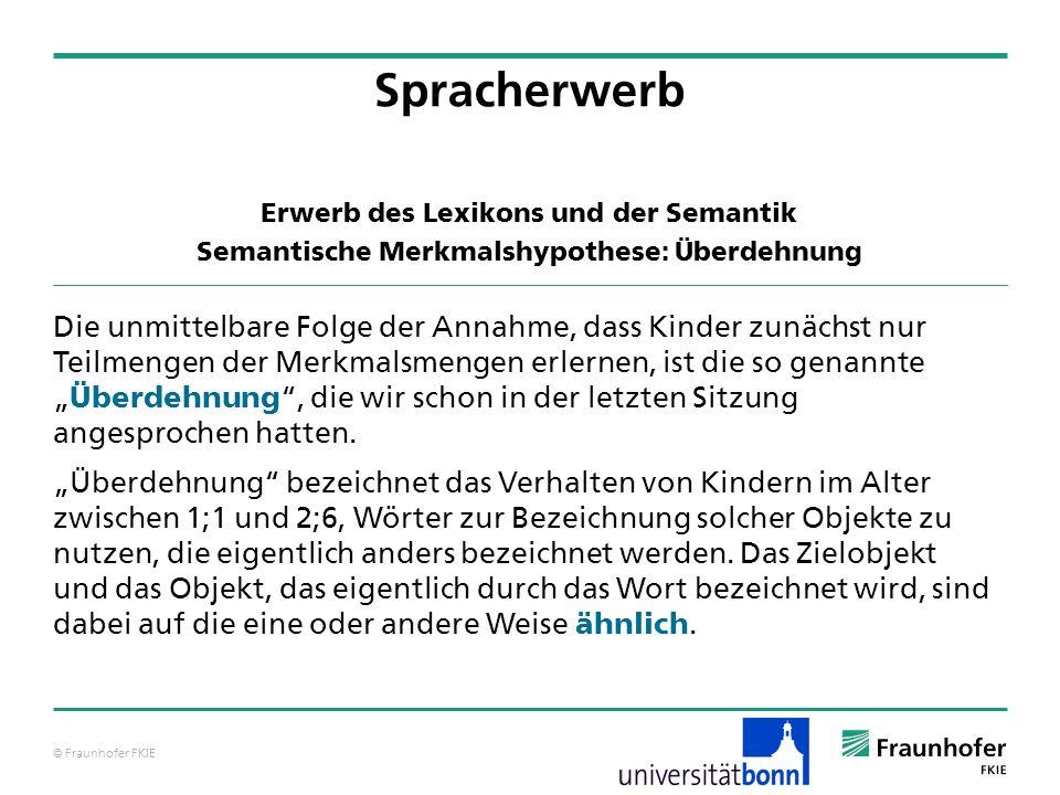 © Fraunhofer FKIE Spracherwerb Die unmittelbare Folge der Annahme, dass Kinder zunächst nur Teilmengen der Merkmalsmengen erlernen, ist die so genannt