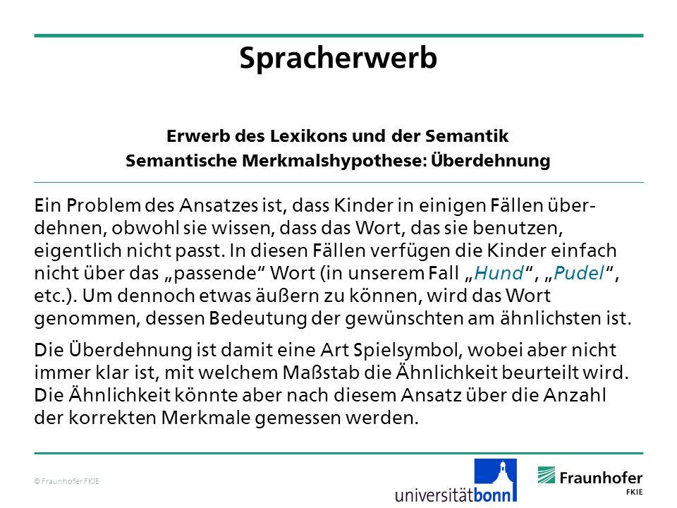 © Fraunhofer FKIE Spracherwerb Ein Problem des Ansatzes ist, dass Kinder in einigen Fällen über- dehnen, obwohl sie wissen, dass das Wort, das sie ben